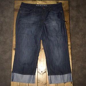 Merona- Mid Rise Dark Wash- Crop Cuffed Jeans